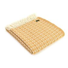 Mustard Wool Throw Tweedmill Blanket Cobweave Yellow Large Size
