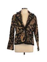 Chico's Women's Black Floral Brocade Paisley Detailed Blazer Jacket Size Large