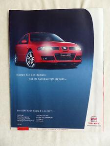 480) Seat Leon Cupra R 1.8 20V Turbo - Werbeanzeige Reklame Advertisement 2003