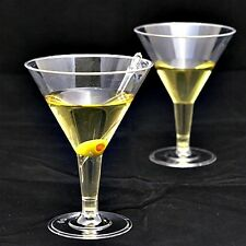 12 x LARGE CLEAR PLASTIC PARTY MARTINI MOCKTAIL WINE  GLASSES - 200ml