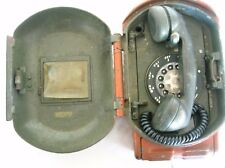 Vintage Original Metal Police Call Box, Red Bell System Box Rotary Phone inside