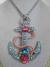 NWT Auth Betsey Johnson Anchors Away Large Blue Nautical Long Statement Necklace