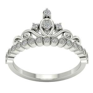 Crown Engagement Ring SI1 G 0.35 Ct Natural Round Diamond White Gold 10.50 MM