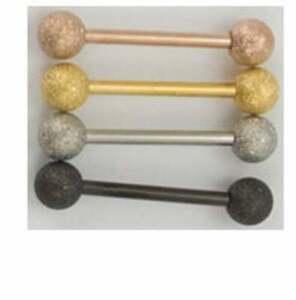 4 Pack of Sandblast Ball SS 316L Barbells - Gold, Rose Gold, Silver, Black