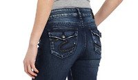 Silver Jeans Buckle Mid Rise Stevie Flap Jean Stretch Denim Shorts 28
