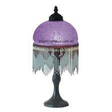 Beaded Victorian Lamp, Purple Beaded Table Lamp, Bedside Lamp