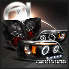 Ford 97-00 F150 Black Dual Halo LED Projector Headlights+Smoke Tint Tail Lamps