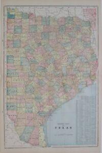 Original 1899 Antique Map EAST TEXAS Austin Galveston Houston San Antonio Dallas
