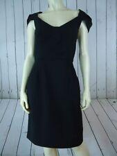 BEBE Dress 10 Black Wool Spandex Back Zip Petal Cap Sleeves Sheath RETRO SEXY!