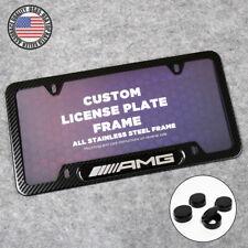 For Mercedes-Benz AMG Sport Carbon Fiber Texture License Plate Frame Cover Gift