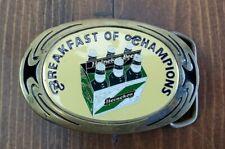 Vintage 1988 Heineken Breakfast of Champions Beer Brass Belt Buckle