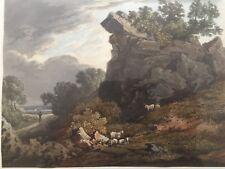 1824 Antiguo impresión; vista de acantilados cerca de Bath, Somerset bathampton