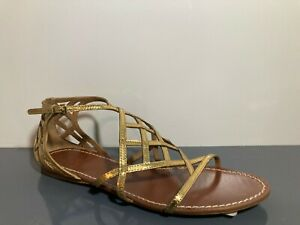 NEW Tory Burch Gold Leather Amalie Gladiator Strap Sandals Flats 8 M