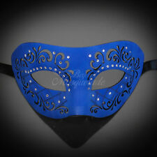Leather Venetian Mardi Gras Masquerade Mask for Men Royal Blue M33160
