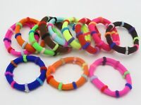 30pcs Mixed Color Rainbow Soft Fabric Elastic Hair Ties Bands Ponytail Holder