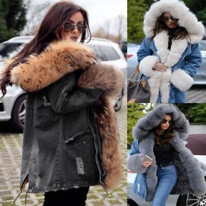 Roiii Winter Women Black Parka Thicken Warm Coat Jacket Hooded Faux Fur Lining