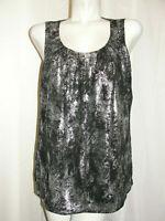 MICHAEL KORS Top Women's Size Large Silver Black Sleeveless Panel Front Blouse