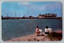 Ocean City Maryland MD Ship Cafe Texaco Sign Artists Painting Postcard 1950s