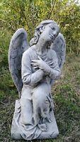 Beautiful LARGE CHERUB ANGEL STATUE Highly Detailed Stone Garden Ornament Decor