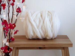 White* 100% Merino Wool Roving Giant Yarn Extreme Big Arm Knitting, 100 g - 1 kg