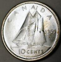 1955 Canada Silver Dime 10 Cents BU Queen Elizabeth II Ship Coin
