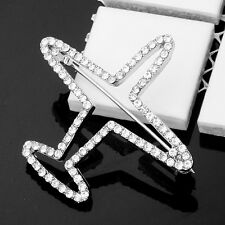 Sparkly White Clear Crystal Silver Brooch Lapel Pin Aircraft Airplane Jet Flight