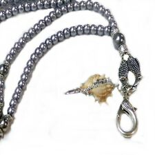 key holder, cruise, silver pearl seashell Beaded Lanyard necklace work Id badge,
