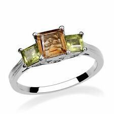 Natural Brazilian Citrine & Peridot Gemstone Sterling Silver Ring - Size 6