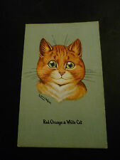 LOUIS WAIN Cat Postcard, Red Orange & White Cat, Unposted