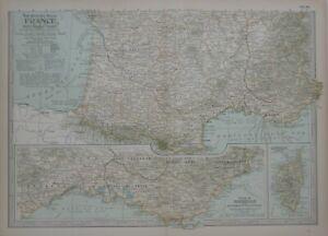 Original 1897 Map SOUTHERN FRANCE Monaco Marseille Cannes Riviera Toulon Corsica