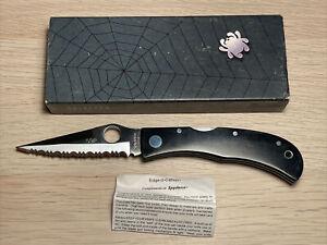 Spyderco 592 by Jess Horn AUS-8 Fully Serrated Black Micarta Lockback Japan Rare