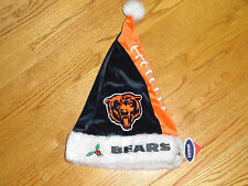 Adult Chicago Bears Football Christmas Plush Santa Hat Mens Womens Blue Orange