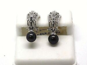 14K White Gold Earrings with Black Pearl and Diamonds