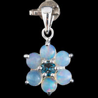 100% NATURAL LONDON BLUE TOPAZ & WELO BLUE OPAL RARE STERLING SILVER 925 PENDANT