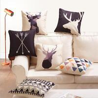 Nordic Geometry Deer Cotton Linen Throw Pillow Case Cushion Cover Home Decor