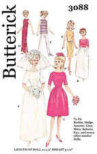 Vintage Butterick 3088 - 11 1/2 inch doll like barbie, clothes sewing patterns