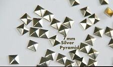 100pc -  7mm Silver Flat Back Pyramid Studs - Hotfix  Iron On Glue On - FlatBack