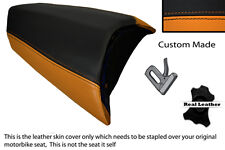 BLACK & ORANGE CUSTOM FITS PEUGEOT JETFORCE 50 125 REAR LEATHER SEAT COVER