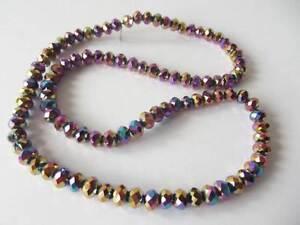 100 pcs x 6mm Crystal Cut Glass Rondelle Beads: AB MULTI COLOUR