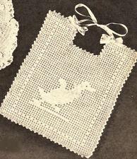 Vintage Filet CROCHET BABY BIB PATTERN Ducky Duck Chart