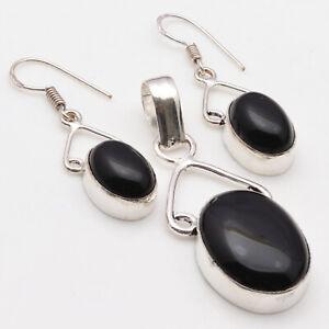 Black Onyx Sterling Silver Plated Pendant & Earrings Set  Gemstone Jewelry W3758