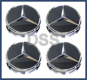 Genuine Mercedes Benz Black w/ Chrome Center Insert Cap Wheel Set (x4) 66470200