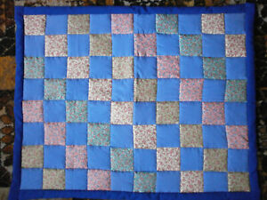 """Handmade Blue/Navy/Multicolour Patchwork Quilt size approx 28"""" x 36"""""""