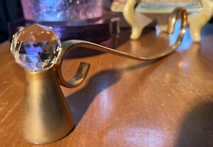Crystal Ball 'n Brass Candle Snuffer Curved Elegant Mystical Collectible Gem