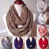 Women's & Men's Winter Warm Infinity Knit Scarf 2 Loop Honeycomb Soft Cowl Wrap