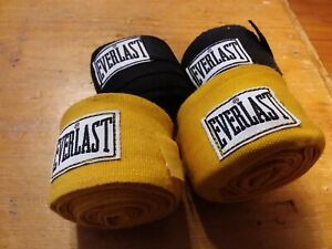 """Everlast Boxing MMA Classic Training Hand Wraps 2 Black 105"""" and 2 Yellow 120"""""""