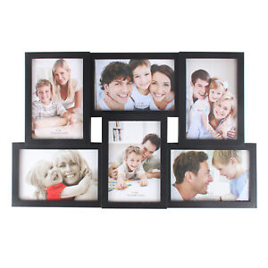 Multi Photo Picture Frames Holds 6x4 6 Photos Black White Copper Wedding Gift UK