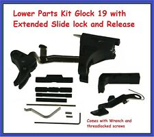 Lower Parts Kit Glock 19 with Polymer Trigger+Extended Slide lock and Release