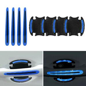 8X Car Door Blue Handle Bowl Protect Film Reflective Strips Sticker Anti-Scratch