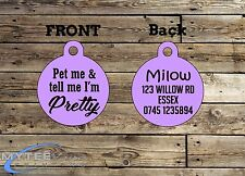"Cute Personalized Girl Dog ID Tag ""Pet Me and Tell Me I'm Pretty"" Double Sided"